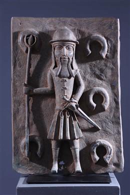 African art - Benin Bronze Portuguese Colon Plate