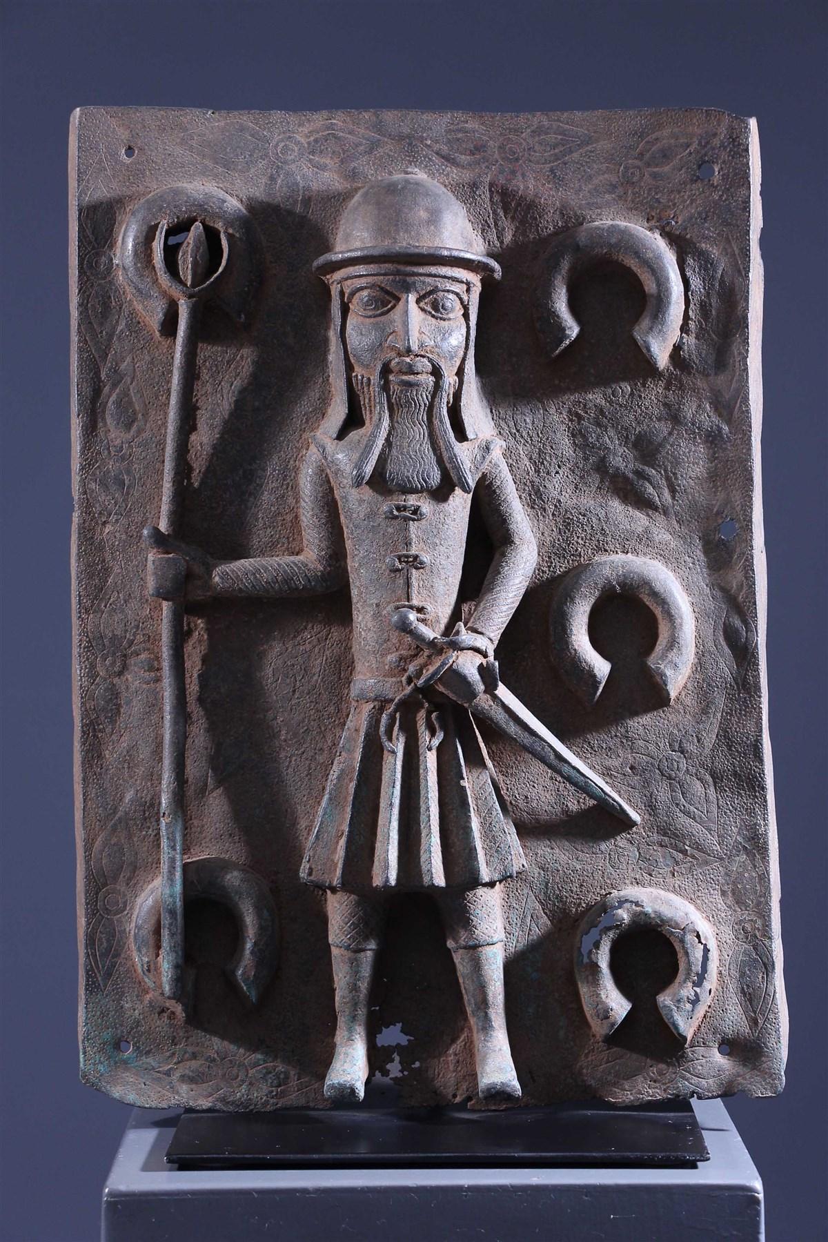 Benin Bronze Portuguese Colon Plate - African art