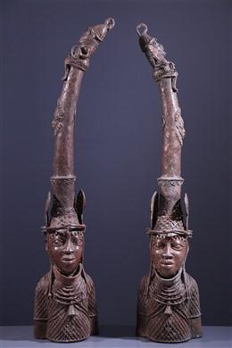 Pair of Benin Bronze Altar Heads
