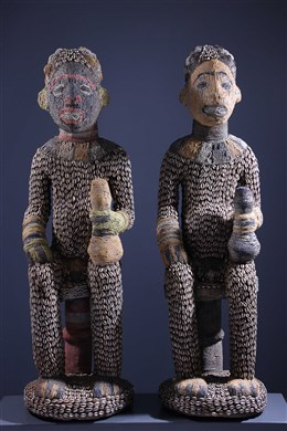 Couple of large beaded Bangwa statues