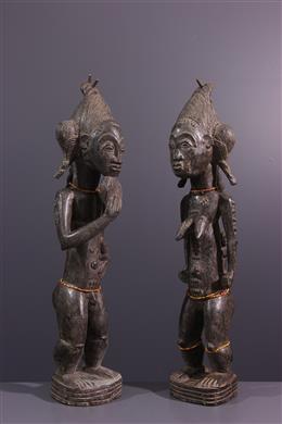 Couple of statues Baoulé Asiè Usu