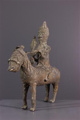 Figure of rider Benin in bronze
