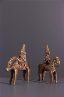Pair of rider Sao Sokoto in bronze
