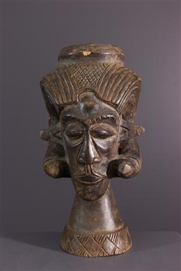 African art - Large cut Kuba Lele cephalomorph