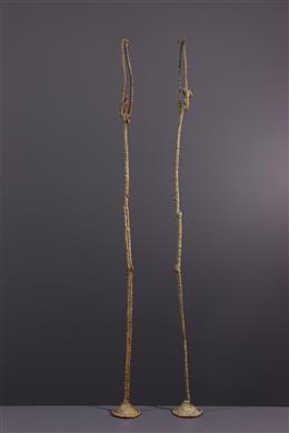 Couple of bronze Dogon statues