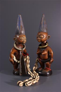 African art - Couple of statuettes Ere ibedji Yoruba