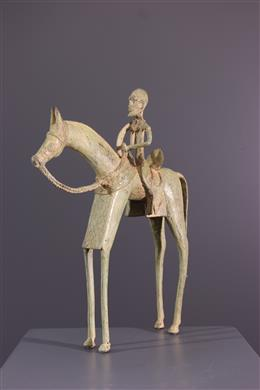 African art - Horseman Dogon in bronze
