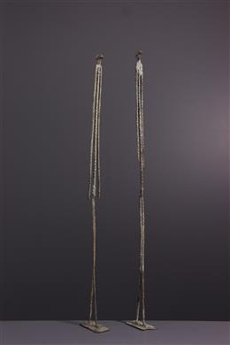 African art - Figures of the primordial couple Dogon in bronze