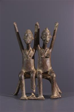 African art - Lobi couple figures in bronze