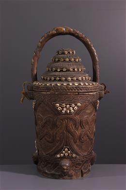 African art - Kuba Bushoong Wisdom Basket with a Lid