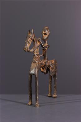 African art - Dogon horseman figure in bronze