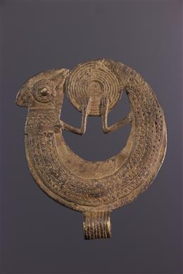 African art - Large bronze Gan pendant