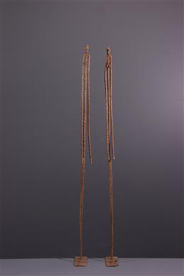 African art - Figures of primordial Dogon couple in bronze
