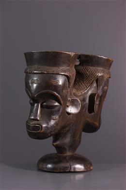 African art - Lele, Bashilele Double cephalomorphic cup