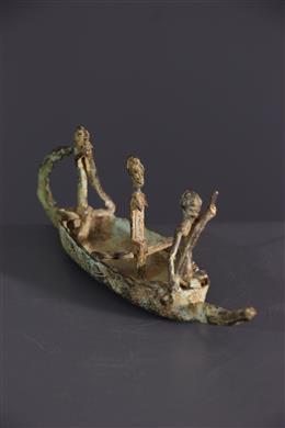 African art - Dogon canoe in bronze